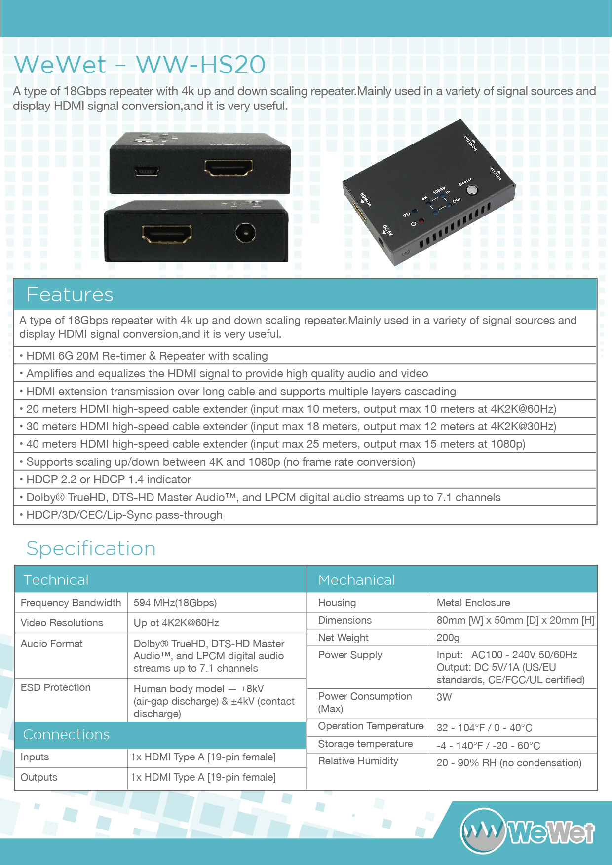HDCVT HDV-BS11 HDMI 18Gbps Repeater w//4K Up and Down Scaling